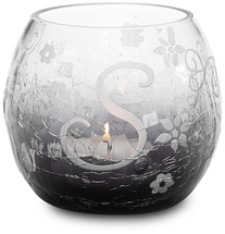 """S"" Glass Candle Holder w/TL by Black Tie - 3.5"" Crackled Glass"