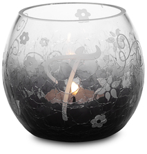 """T"" Glass Candle Holder w/TL by Black Tie - 3.5"" Crackled Glass"