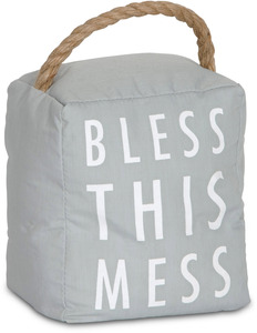 "Bless this Mess by Open Door Decor - 5"" x 6"" Gray Door Stopper"