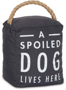"Spoiled Dog by Open Door Decor - 5"" x 6"" Dark Gray Door Stopper"