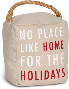 "Home for the Holidays by Open Door Decor - 5"" x 6"" Tan Holiday Door Stopper"
