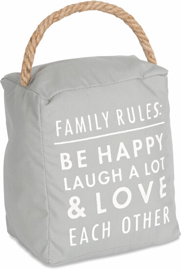 "Family Rules by Open Door Decor - Family Rules - 5"" x 6"" Door Stopper"