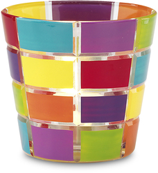 "Multi-Colored T-Light Holder by Hiccup - 3.25"" Glass Tea Light Holder"