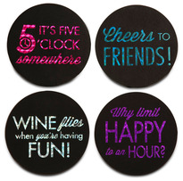"Happy Hour by Hiccup - 4"" Round Coasters (Set of 4)"