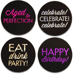 "Happy Birthday by Hiccup - 4"" Round Coasters (Set of 4)"
