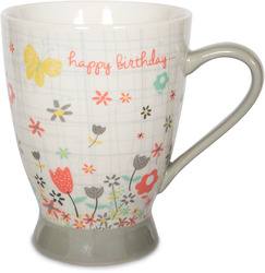 Happy Birthday by Bloom by Amylee Weeks - 18 oz Butterfly & Flowers Mug