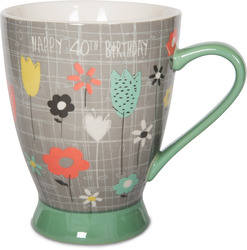 40th Birthday by Bloom by Amylee Weeks - 18 oz Flowers Mug