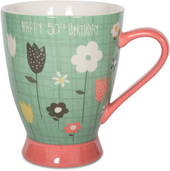 50th Birthday by Bloom by Amylee Weeks - 18 oz Flowers Mug
