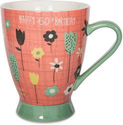 60th Birthday by Bloom by Amylee Weeks - 18 oz Flowers Mug