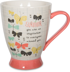 Survivor by Bloom by Amylee Weeks - 18 oz Mug for all the survivors of cancers, diseases, or any other courageous battle they