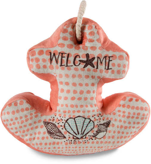 "Welcome by Seaside Bloom - Welcome - 11.5"" x 11"" Anchor Door Stopper"