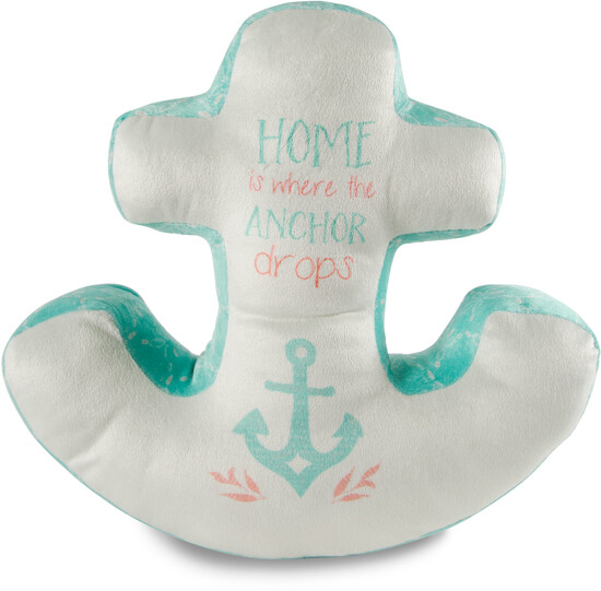 "Home by Seaside Bloom - Home - 17"" x 16"" Micromink Anchor Pillow"