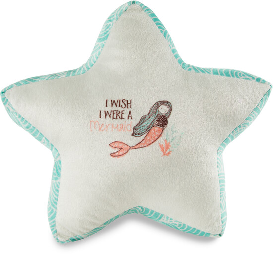 "Mermaid by Seaside Bloom - Mermaid - 14.5"" x 12.5"" Micromink Star Pillow"