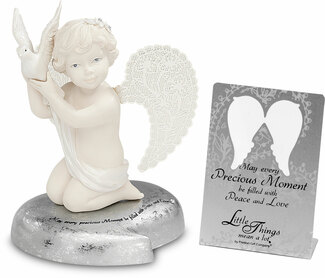 "Peace by Little Things Mean A Lot - 3.5"" Cherub Holding Dove"