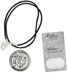 "Mother Necklace by Little Things Mean A Lot - With 1.5"" Circle Pendant"