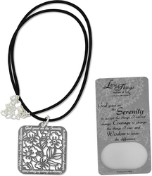 "Serenity Necklace by Little Things Mean A Lot - With 1.25"" Square Pendant"