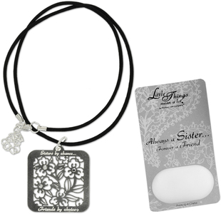 "Sister Necklace by Little Things Mean A Lot - With 1.25"" Square Pendant"