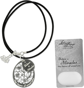 "Miracles Necklace by Little Things Mean A Lot - With 1.5"" Teardrop Pendant"