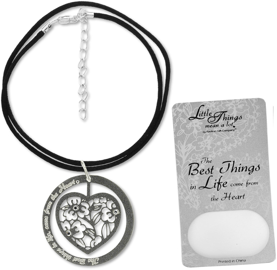 "The Best Things... Necklace by Little Things Mean A Lot - The Best Things... Necklace - With 1.5"" Heart Pendant"