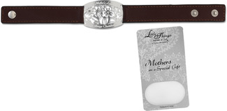 "Mother Bracelet by Little Things Mean A Lot - 8.5"" x 0.75"" Brown Leather"