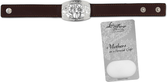 "Mother Bracelet by Little Things Mean A Lot - Mother Bracelet - 8.5"" x 0.75"" Brown Leather"