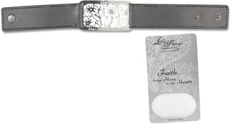 "Faith Bracelet by Little Things Mean A Lot - 8.5"" x 1"" Silver Leather"