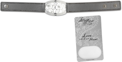 "Love Bracelet by Little Things Mean A Lot - 8.5"" x 0.75"" Silver Leather"