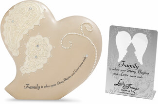 "Family by Little Things Mean A Lot - 4""Heart Self Standing Plaque"