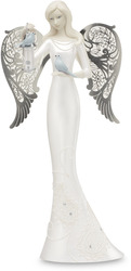 "Bless This Home by Little Things Mean A Lot - 10"" Angel with Birdhouse"