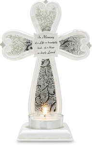"In Memory by Little Things Mean A Lot - 7"" Cross Tea Light Holder"