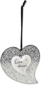"Love Always by Little Things Mean A Lot - 3"" Heart Ornament"