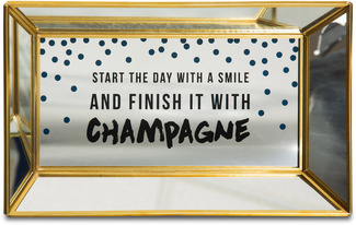 "Start the Day with a Smile by Girlfinds - 10"" x 6"" x 1"" Vanity/Mirror Tray"
