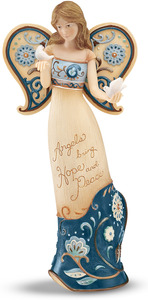 "Hope and Peace by Perfectly Paisley - 7.5"" Angel Holding Doves"