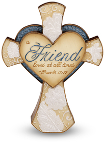 "Friend by Perfectly Paisley - 4.25"" Self Standing Cross"