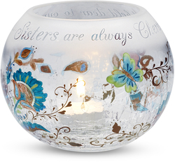 "Sister by Perfectly Paisley - 5"" Glass Rnd. Candle Holder"