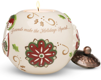 "Friends make the Holiday... by Perfectly Paisley Holiday - 3.75"" Round Candle Holder"