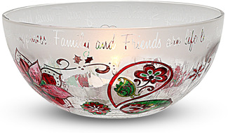 "Family and Friends by Perfectly Paisley Holiday - 6.5"" Glass Candle Holder"