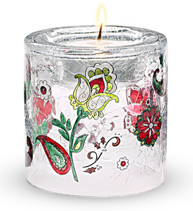 "Small Cylinder by Perfectly Paisley Holiday - 3"" Glass Tea Light Holder"