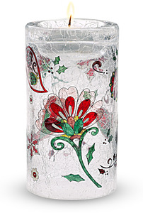 "Medium Cylinder by Perfectly Paisley Holiday - 5"" Glass Tea Light Holder"
