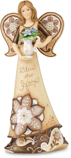 "Bless This Home by Perfectly Paisley - Bless This Home - 9"" Angel w/Vase of Flowers"
