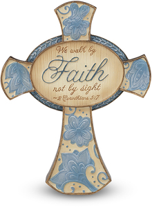 "Faith by Perfectly Paisley - 4.25"" Self Standing Cross"