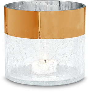 "Bronze Metallic Rim Cylinder by Perfectly Paisley Holiday - 4"" Crackled Glass Cylinder"