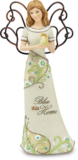 "Bless this Home by Perfectly Paisley - Bless this Home - 6"" Angel Holding Pear"