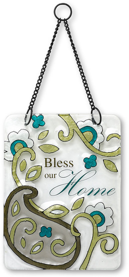 "Bless our Home by Perfectly Paisley - Bless our Home - 6"" x 8"" Hanging Glass Plaque"