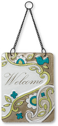 "Welcome by Perfectly Paisley - 6"" x 8"" Hanging Glass Plaque"