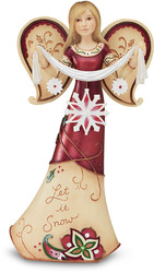 "Let it Snow by Perfectly Paisley Holiday - 5.5""Angel Holding Snowflakes"