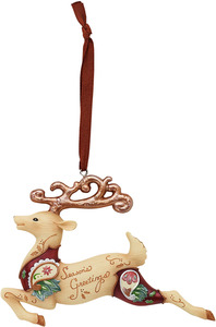"Season's Greetings by Perfectly Paisley Holiday - 3.5"" Reindeer Ornament"