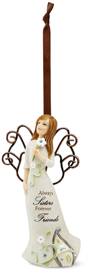 "Sister Ornament by Perfectly Paisley - Sister Ornament - 4.5"" Angel w/ Flower Orn."