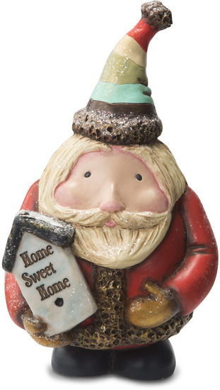 "Home Sweet Home by Roly Poly Christmas - Home Sweet Home - 6"" Santa with Birdhouse"