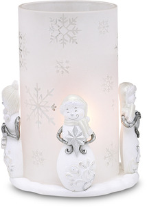 "Winter Wonderland by Perfectly Presented - 6.5"" Snowman/Glass Hurricane"